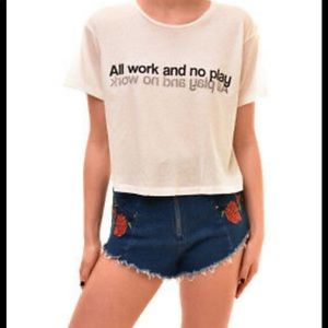 Wildfox All Work and No Play crop tee sz S